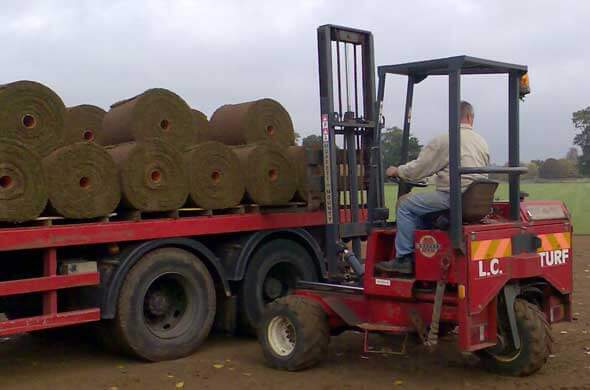 Large turf rolls transported via truckload