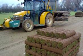 Turf harvested by specialist tractor